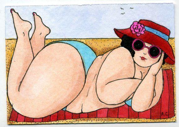 Cute BBW in Bikini Bathing Beauty a3 by ladyatlarge on Etsy, $10.00
