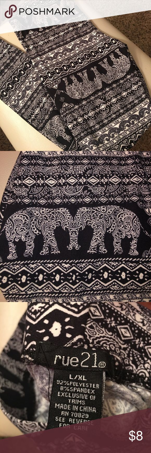 Elephant tribal print leggings NWOT. Tried on once, never been washed. Too small for me. Soft material. Rue 21 Pants Leggings
