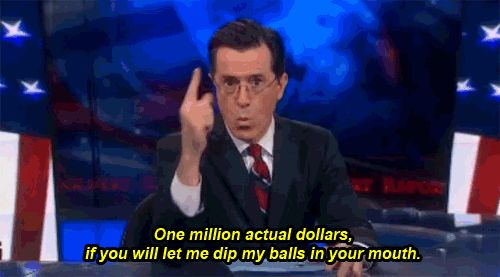 Stephen Colbert Offers To Put His Balls In Donald Trump's Mouth For Charity. :-)