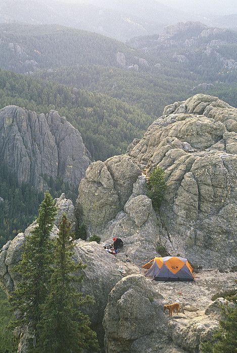 Camping on Harney Peak in the Black Hills,South Dakota