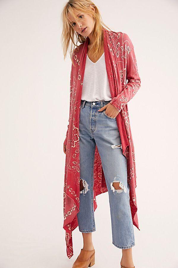 dd784db365 Stargazer Bandana Cardi - Red Bandana Print Long Line Cardigan - Bandana  Print Tops - Red Cardigans - Boho Sweaters - Boho Cardigans - Western  Bandana ...