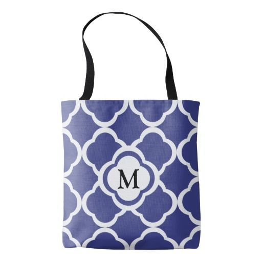 Monogram With Royal Blue Floral Quatrefoil Pattern Tote Bag