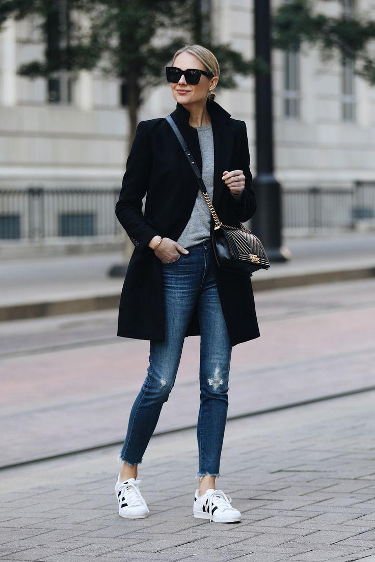 Blonde Woman Wearing Zara Black Wool Coat Grey Sweater Madewell Denim Jeans adidas superstar sneakers Chanel Black Boy Bag Fashion Jackson Dallas Blogger Fashion Blogger Street Style