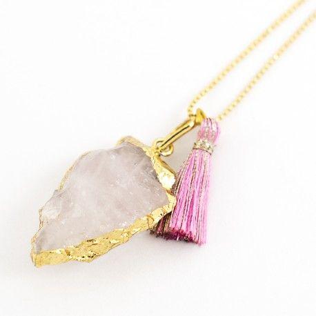 Collares mujer Drusa Cuarzo rosa rosado bruto chapado en oro Lindas joyas