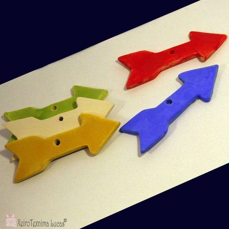 Handmade Ceramic Arrows 11*3.5cm, White Bisque Arrow, Red Arrow, Blue Arrow, Green Arrow, Yellow Arrow, Clay Arrows, Ceramic Arrows Ornament by XeiroTexnimaLucas on Etsy