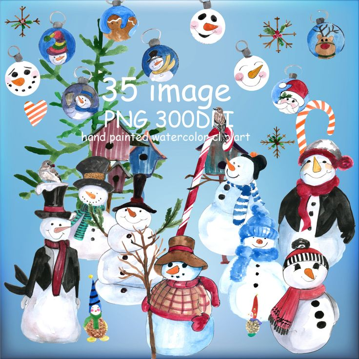 CHRISTMAS CLIP ART,Snowman clipart, Holiday clipart Christmas Ornaments Christmas gifts Santa Claus Winter clipart by MilaWorldDesign on Etsy