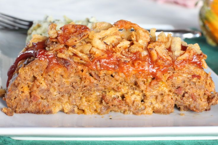 Bacon Cheeseburger Meatloaf - fabulous Paula Deen recipe tastes just like eating bacon cheeseburgers with onion rings on top!