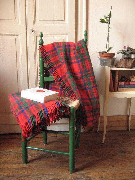 Delicieux Plaid Rouge Pour Canape #11: 2 Couvertures En Pure Laine / Vintage France Années 50-70 / Plaid écossais  Rouge