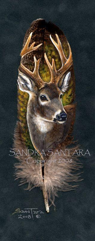 'Autumn Glory' - Hand Painted Turkey Feather by Sandra SanTara