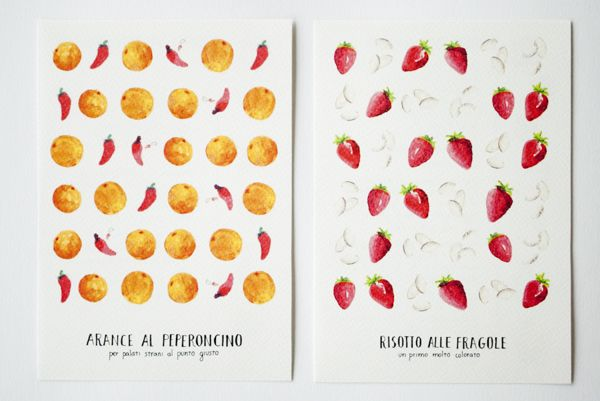 Fruit postcards by Veronica Maccari, via Behance