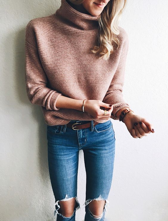 Pink turtle neck sweater | winter fashion | winter style | winter outfit | streetstyle