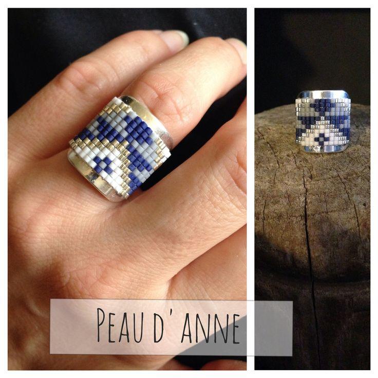 bague tissée de fines perles miyuki : Bague par peaud-anne