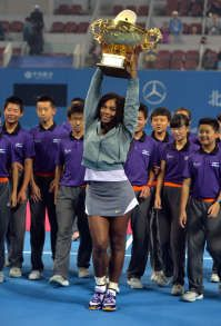 """WORLD #1 SERENA WILLIAMS CLAIMS 10TH TITLE OF 2013 IN BEIJING! ... Rena won her 2nd China Open with a 6-2, 6-2 victory over 2008 Champion Jelena Jankovic in the Nat'l Tennis Center. Serena: """"I really love tennis so much and it's fans like the ones here in China who are so exciting to come to. The fans make me want to play, and they're so great here, so coming here is such a great opportunity."""" 10/6 #TEAMSERENA <3 #RenasArmy"""