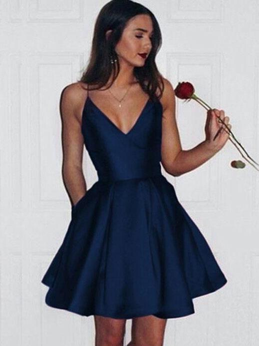Simple Spaghetti Red Satin Short Prom Dresses, Homecoming Dresses, V-neck Prom Dresses, TYP0656