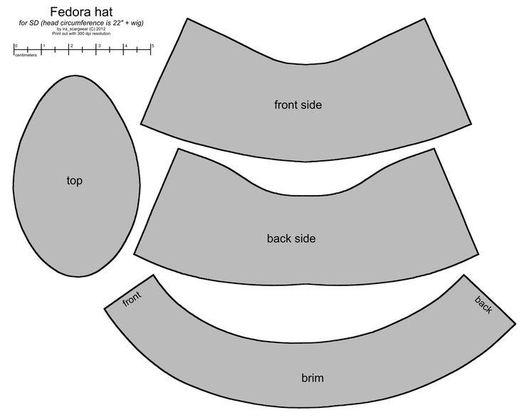 Fedora hat pattern for SD BJD by scargeear.deviantart.com on @deviantART
