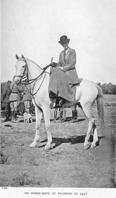 """Gertrude Bell on horseback, Baghdad, 1917. Bell was a Mid East adventuress, and formidable personality in colonial Britain. A contemporary of Lawrence of Arabia, Bell's influence on Mid East politics made her the """"most powerful woman in the British Empire in the years after World War I"""
