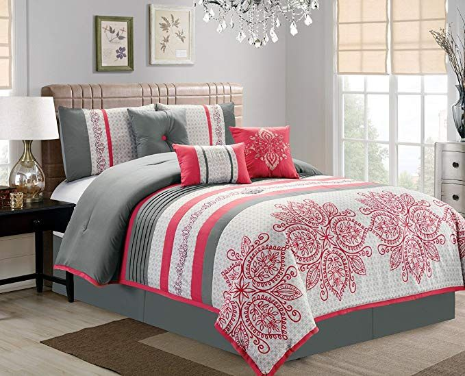 Amazon Com Retro 7 Piece Bedding Melon Pink Grey Geometric Print Embossed Queen Comforter Set With Acc Grey Comforter Sets King Comforter Sets Comforter Sets