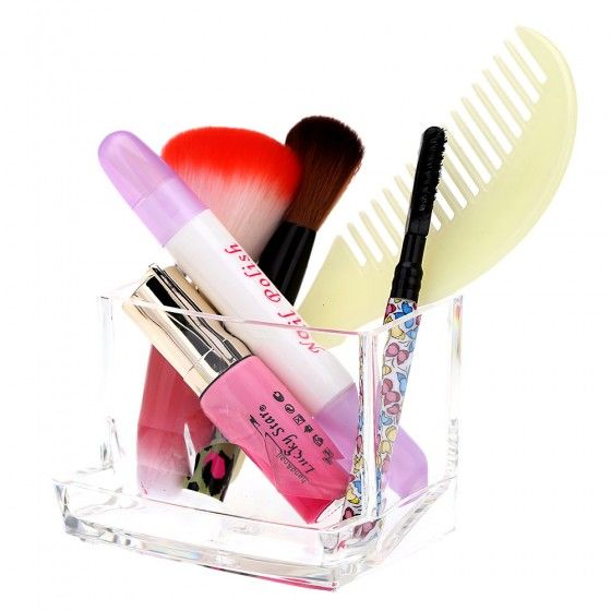 Transparent Crystal Acrylic Cosmetic Cotton Swab Q-tip Storage Holder Box Makeup Carrying Case