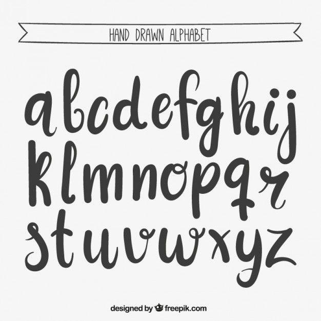 Mano Escrita Alfabeto Vector Gratis                                                                                                                                                                                 Más