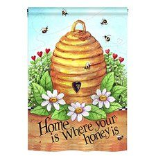 Bee Hive Home 2-Sided Vertical Flag