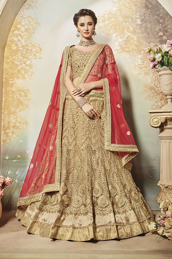 Beige Color Net & Art Silk Fabric Lehenga Choli
