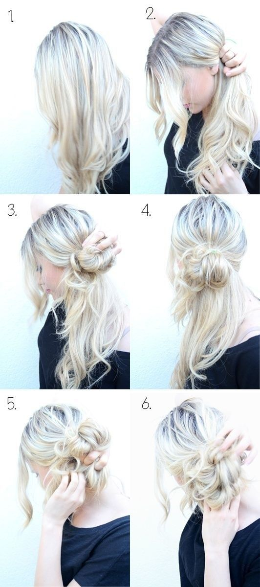How to Do Style: Messy Side Bun Updo... My awesome sister taught me to do this over a year ago and it's been a curly-girl lifesaver! 2943 563 1 Lee Salzmann Hair Cassandra Tebeck Worst site for hair tutorials! All camera angles are from the front, with the girls' hands blocking the styling, and each picture does not show how it transitioned