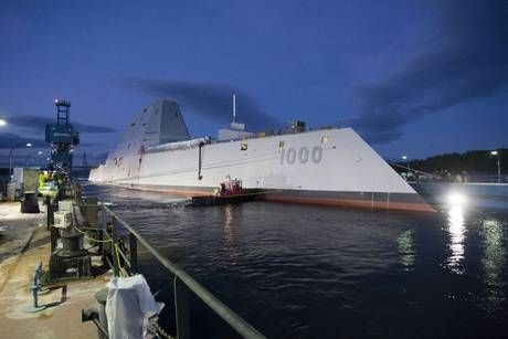 US Navy christens huge $3 billion destroyer ship USS Zumwalt that appears as a fishing boat on enemy radar - Americas - World - The Independent