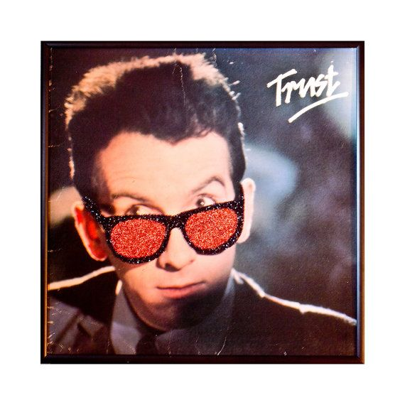 Glittered Elvis Costello Trust Album by michel328 on Etsy, $70.00