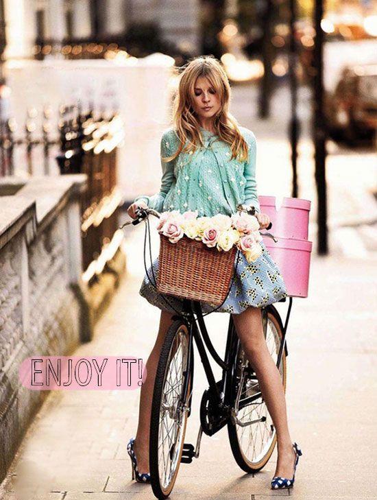 enjoy: Hats Boxes, Riding A Bike, Bike Riding, Style, Clemence Poesy, Clemencepoesy, Baskets, Flower, Bicycle