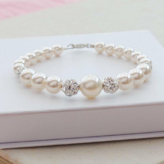 Pearl Bridal Bracelet - Ivory Pearl Crystal Wedding Bracelet Bridesmaids Gift £35.00