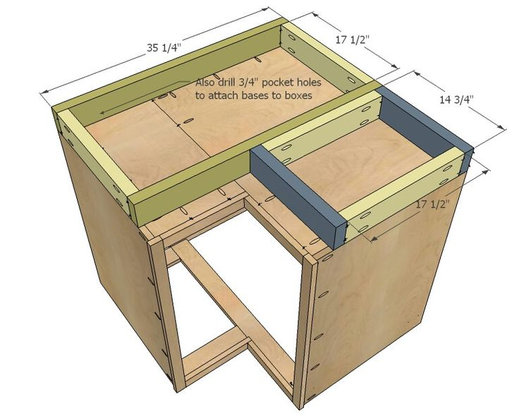 base for corner cabinet - ana white