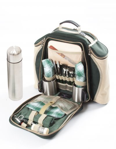 Super Deluxe Picnic Backpack Hamper For Two People in Forest Green from Picnicware.co.uk #picnic #backpack  #rucksack #hamper