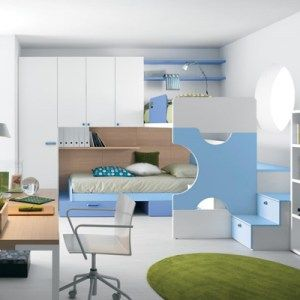 elegant sky blue bedroom decor with bunk bed and minimalist furniture