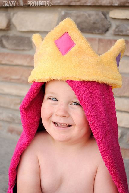 Princess Hooded Towel Tutorial by Crazy Little Projects- these would be great gifts!