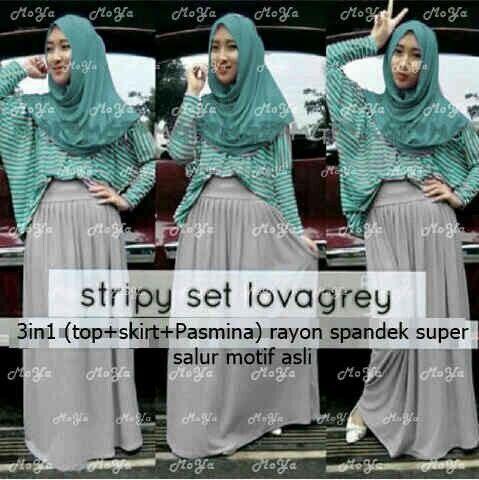 Stripy set Lova grey Seri @93.000 ecer @103.000 PO 4mgg