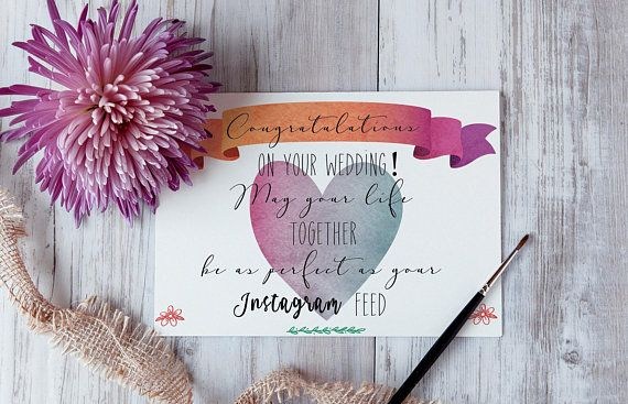 Printable Wedding Congratulations Card Instagram Wedding Card