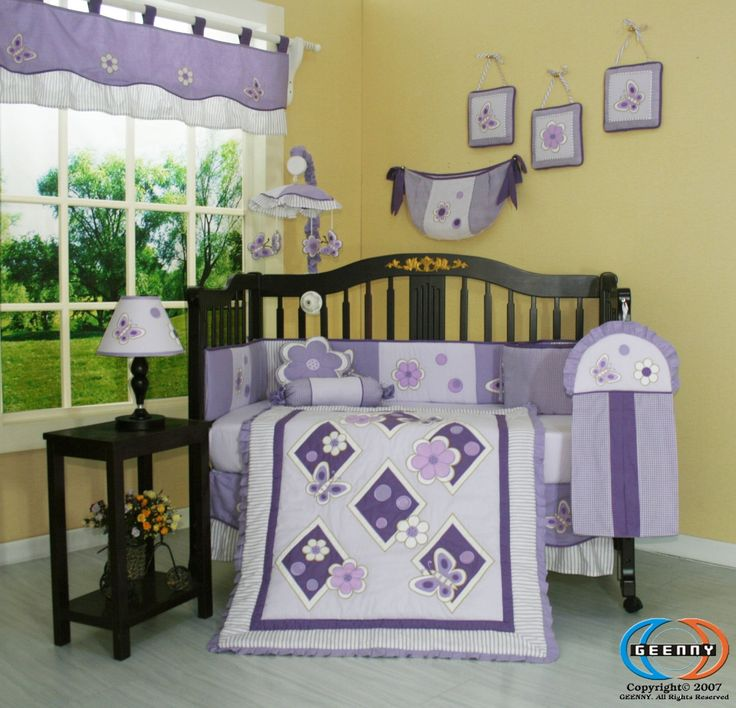 Amazon.com : Boutique Brand New GEENNY Lavender Butterfly 13PCS Baby Nursery CRIB BEDDING SET : Baby Bedding Crib Sets Girl : Baby