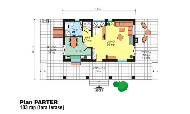 proiecte de case cu mansarda cu patru camere Four room attic house plans 11