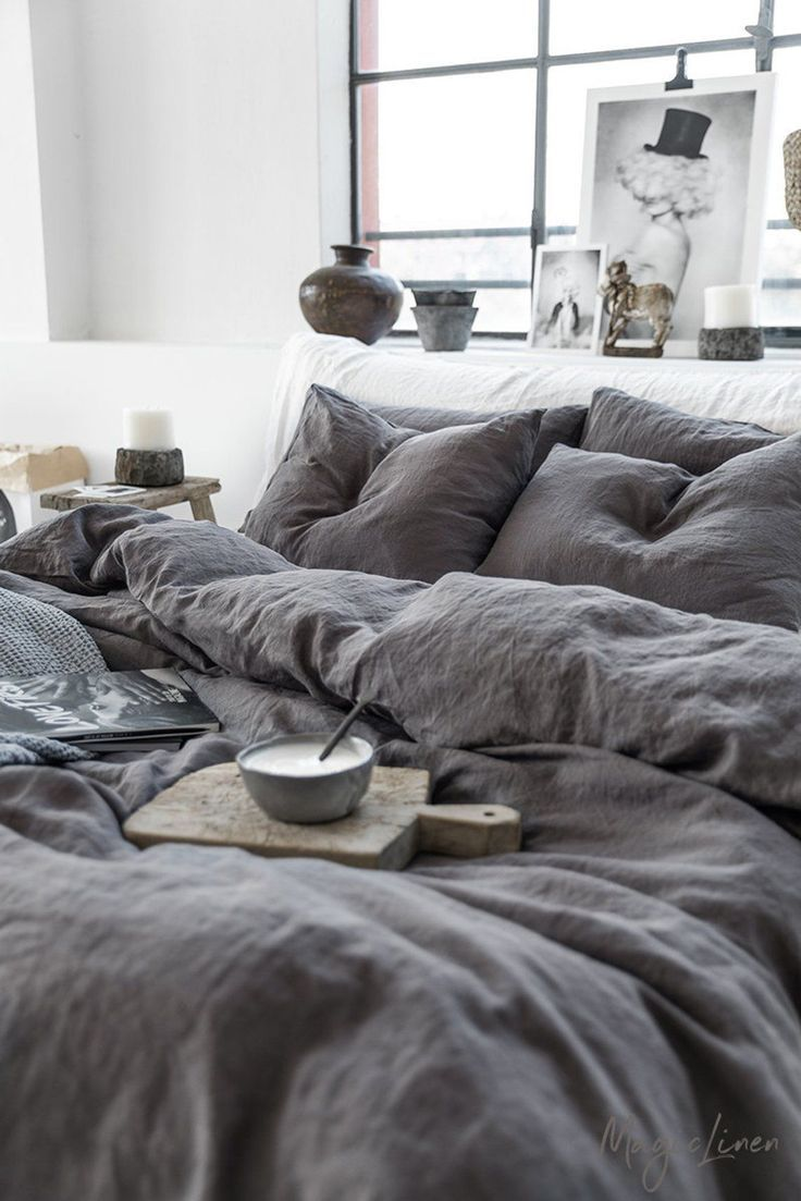 Linen Bedding Set In Charcoal Gray Dark Gray Color King Queen Linen Duvet Cover 2 Pillowcases Bedcoverpengantin Bedding Charcoal Bed Linen Sets Bed Linen Design Luxury Bedding Sets