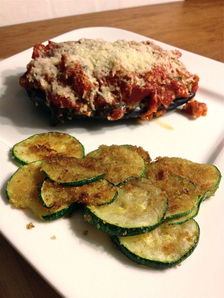 Het eindresultaat - gevulde aubergine met gebakken courgette. Buon appetito!