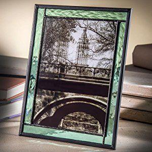 J Devlin Pic 364–57hvステンドグラスフォトフレームセージグリーン5x 7縦縦または横置き水平イーゼルバックフレームの画像