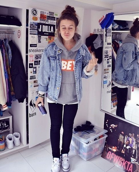 Simply adding a denim jacket over a sweatshirt makes it look like you put more effort into the outfit when you really didn't