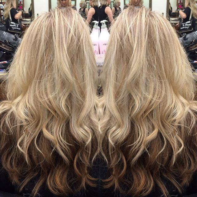 Cool blonde on top, neutral brown underneath #coolblonde#ashblonde#blondetourage#beachwaves#lorealpro#kelownastylist