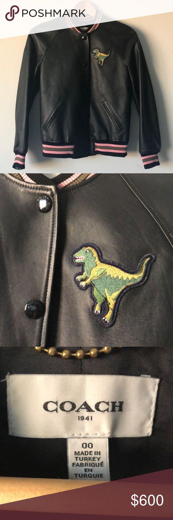 Coach Leather Varsity Trex Jacket size 00 Preowned