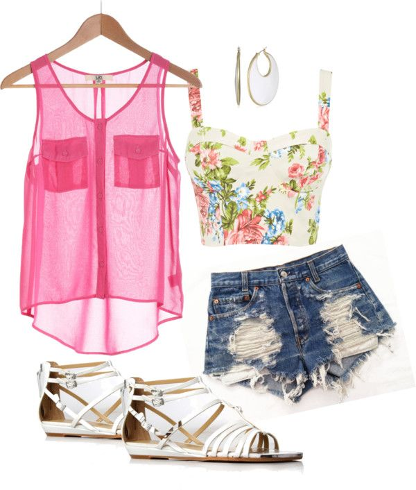 Pink and floral: Summer Fashion, Summer Looks, Crop Tops, Summer Style, Cute Outfits, Sheer Tops, Cute Summer Outfits, Pink Shirts, Summer Clothing