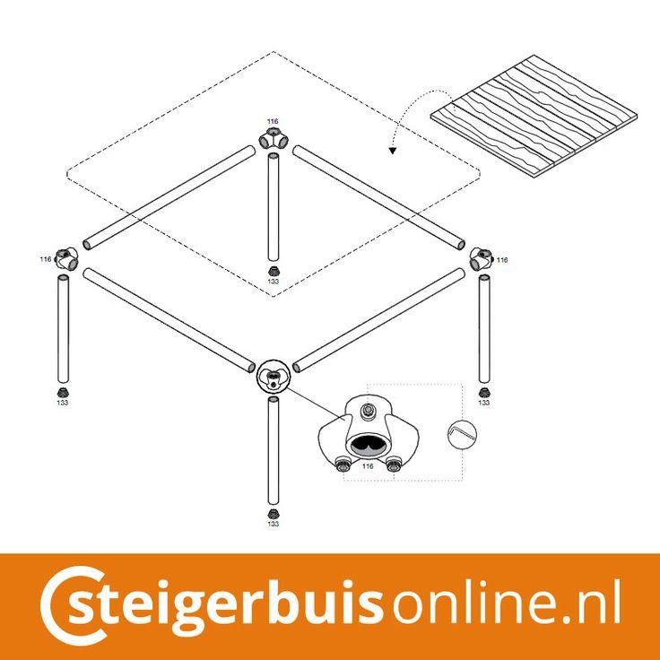 Werktekening (DIY) - Salontafel van steigerbuis