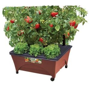 CITY PICKERS 24.5 in. x 20.5 in. Patio Raised Garden Bed Grow Box Kit with Watering System and Casters in Terra Cotta 2340D at The Home Depot - Mobile
