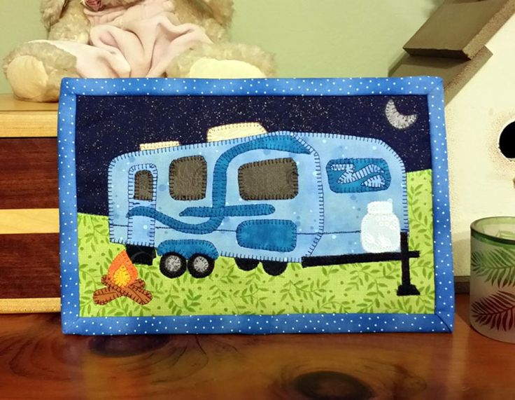 Tow Along Travel Trailer - Camping Mini Quilt | Craftsy
