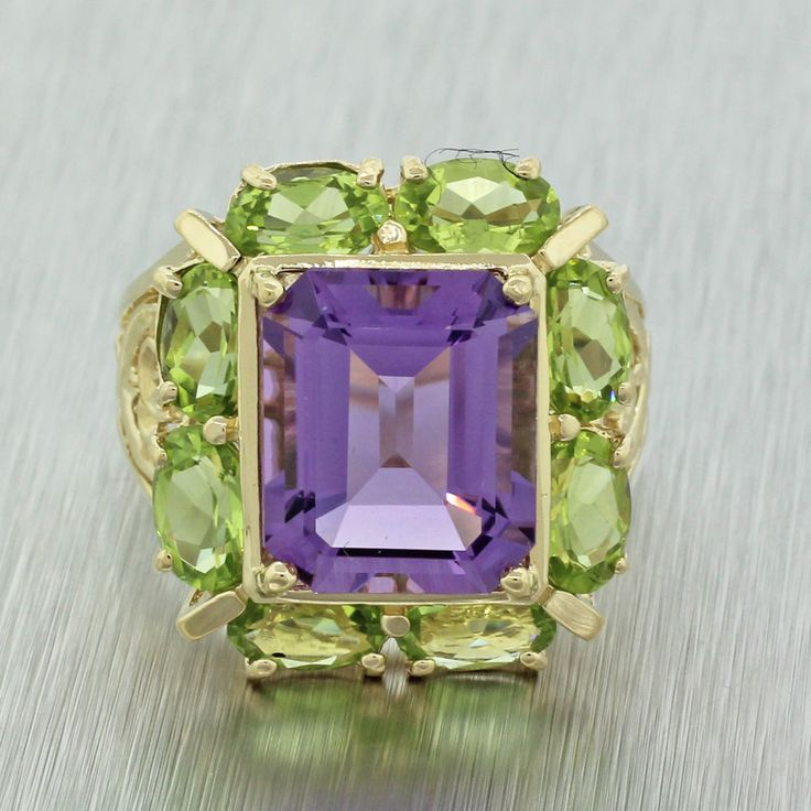 Vintage Estate 14k Solid Yellow Gold Amethyst Peridot Filigree Cocktail Ring #Unbranded #Cocktail