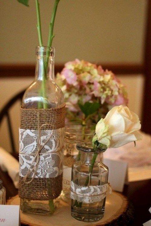 rustic burlap lace wedding centerpiece